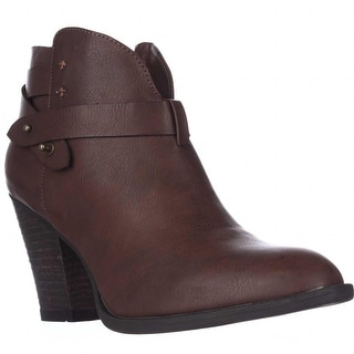 XOXO Karol Short Western Heeled Ankle Boots - Brown