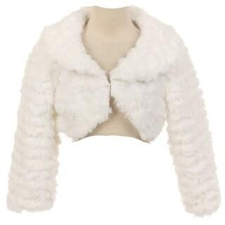 The Rain Kids Little Girls White Pearl Button Long Sleeve Faux Bolero 4-6