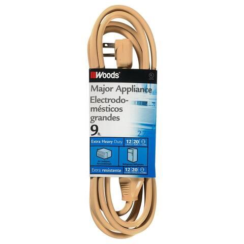 Woods 0568 Extra Heavy Duty Major Appliance Cord, 20-Amp, 9', Beige