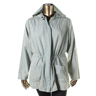 BB Dakota Womens Plus Chambray Hooded Anorak Jacket