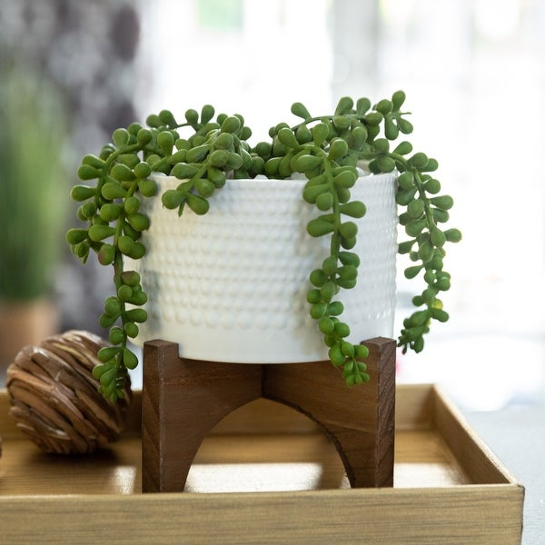 "5"" Hobnail Ceramic Planter on Wood Stand"