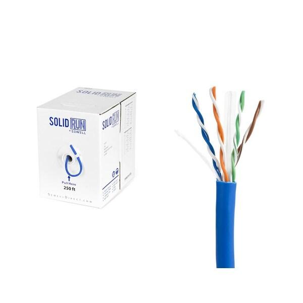 PureRun Bulk Cat6 Cable 250 ft, Pure Copper, UTP CM 23 AWG, Pull Box, Blue