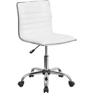 Bridgettine Low-Back Armless White Ribbed Swivel Home/Office Task Chair