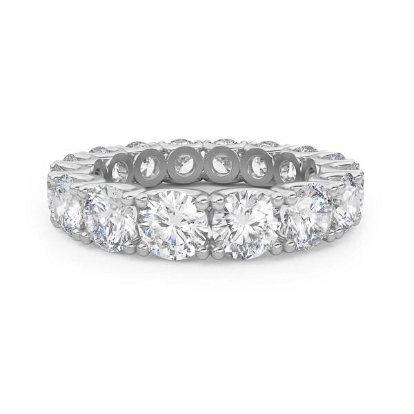 Amcor Design 14KT White Gold 4.25 CT Round Cut Diamond Fishtail Eternity Anniversary Ring. Opens flyout.