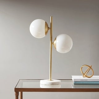 Link to Holloway Table Lamp with White Round Shade by INK+IVY Similar Items in Table Lamps