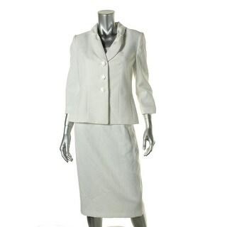 Le Suit Womens Yacht Club Textured 2PC Skirt Suit