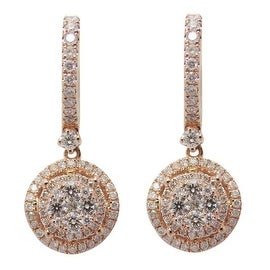 0.95 Carat Round Brilliant Cut Diamond Clip on Drop Earring, 14k Rose Gold