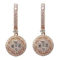 0.95 Carat Round Brilliant Cut Diamond Clip on Drop Earring, 14k Rose Gold