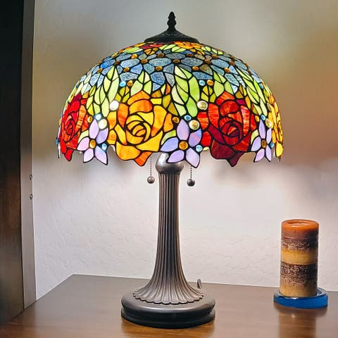 """Tiffany Style Table Lamp 23"""" Tall Stained Glass Floral Decor Nightstand Bedroom Office Handmade Gift AM1534TL16B Amora Lighting"""