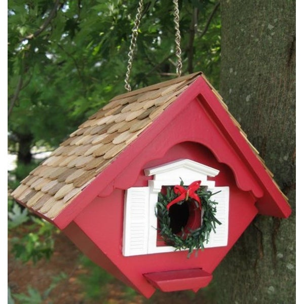 "8"" Fully Functional Charming Red Christmas Cottage Outdoor Garden Birdhouse"