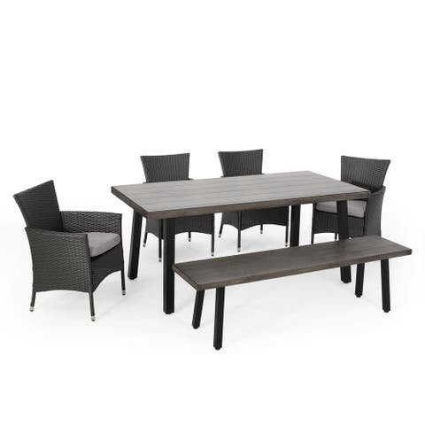 Pointe Outdoor 6 Piece Aluminum Dining Set with Bench by Christopher Knight Home