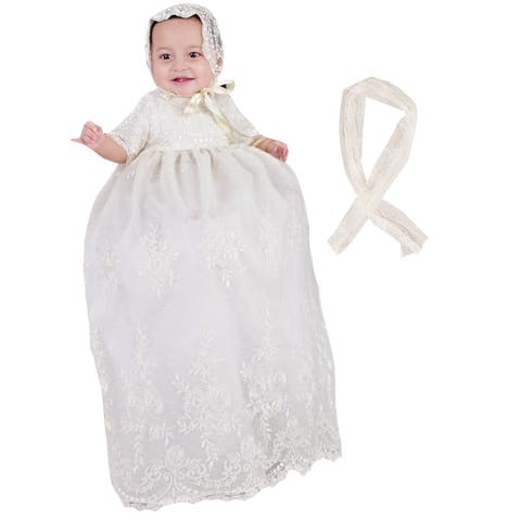 Baby Girls White Embroidered Netting 2pc Christening Gown Shawl Set