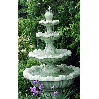8' Calypso Cast Stone Concrete 4-Tier Outdoor Garden Water Fountain