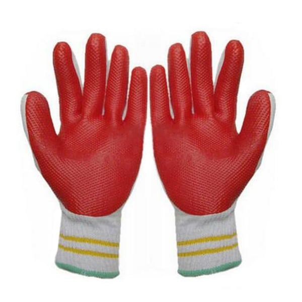 Work Universal Protection Cotton Yarn Glue Thick Gloves - Cyan