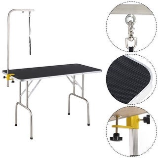 Costway 47.5'' Adjustable Pet Dog Cat Grooming Table Top Foam W/Arm&Noose Rubber Mat