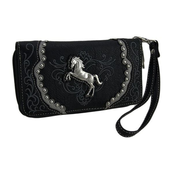 Polished Pony Embroidered Western Trim Wristlet Wallet with Removable Strap