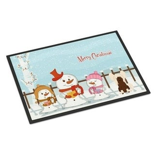 Carolines Treasures BB2444MAT Merry Christmas Carolers Chinese Crested Cream Indoor or Outdoor Mat 18 x 0.25 x 27 in.