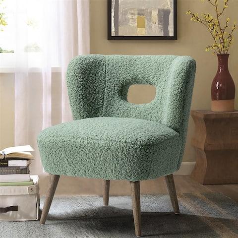 Mini Vegan Lambskin sherpa Upholstery Barrel Chair