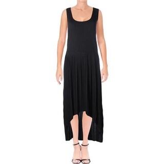 Joan Vass Womens Juniors Maxi Dress Pleated Sleeveless