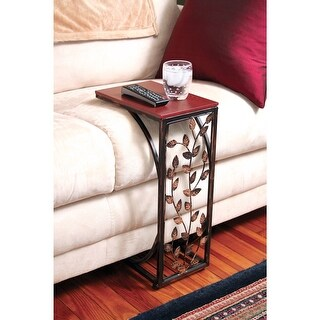 Leafside Wood Top Sofa Side End Table