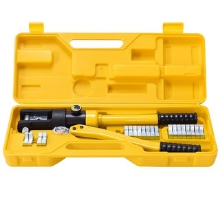 Costway 16 Ton Hydraulic Wire Terminal Crimper Battery Cable Lug Crimping Tool w/Dies