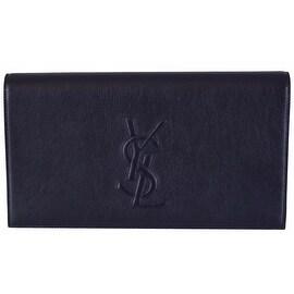 Saint Laurent YSL 361120 Blue Leather Large Belle de Jour Clutch Handbag - Navy