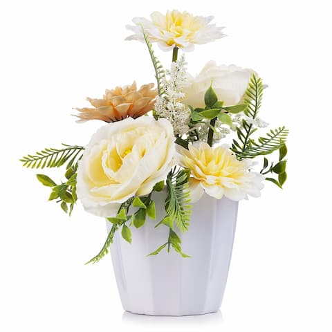Enova Home Mixed Artificial Peony and Dahlia Flower Arrangement in White Pot For Home Office Decoration