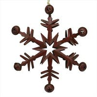 11.5 in. Country Cabin 6-Point Red Metal Christmas Star Ornament