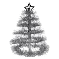 Club Pack of 12 Metallic Silver Tinsel Tree with Star Centerpieces 16""