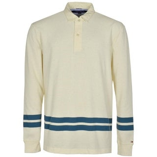 Tommy Hilfiger Mens Long Sleeve Polo Shirt X-Large Beige Seedpearl Cotton