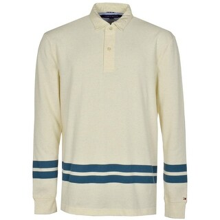 Tommy Hilfiger Mens Long Sleeve Cotton Polo Shirt X-Large Beige Seedpearl