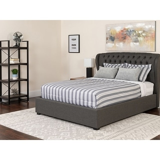 Offex Barletta Tufted Upholstered Twin Size Wingback Platform Bed in Dark Gray Fabric with Pocket Spring Mattress