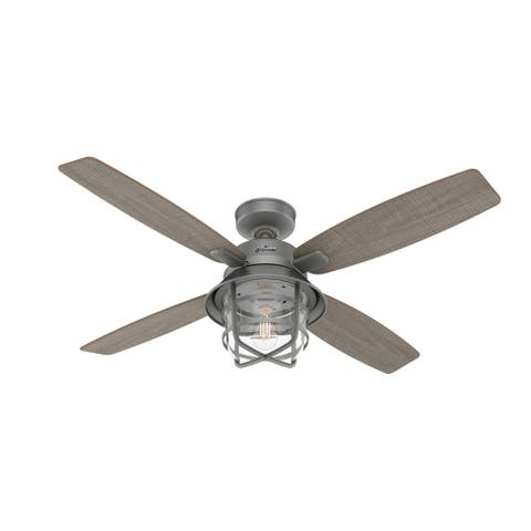 """Hunter 52"""" Port Royale Outdoor Ceiling Fan with LED Light Kit and Handheld Remote, Damp Rated"""