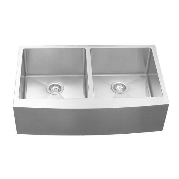 Karran Stainless Steel 36 in. Farmhouse/Apron Double bowl 50/50 Sink