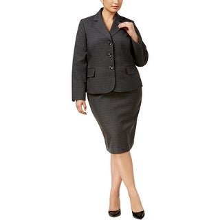 Le Suit Womens Plus Skirt Suit Mini-Plaid Three-Button