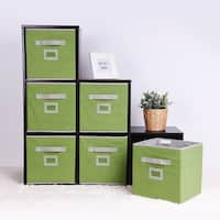 StorageWorks Foldable Fabric Storage Cube Bin, 6-Pack, Green, Medium
