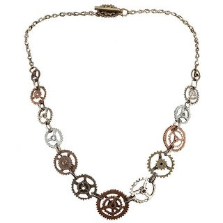 Steampunk Antique Single Chain Gears Costume Necklace Adult - Silver