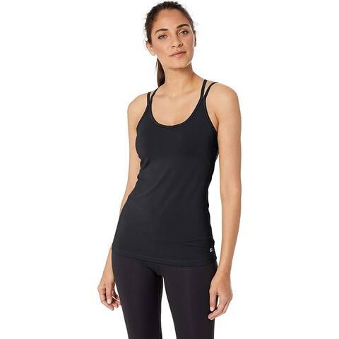 Starter Women's Seamless Two-in-One Bra Tank Top, Amazon, Black, Size Medium