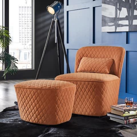 Braden Orange Fabric Chair and Ottoman by iNSPIRE Q Modern