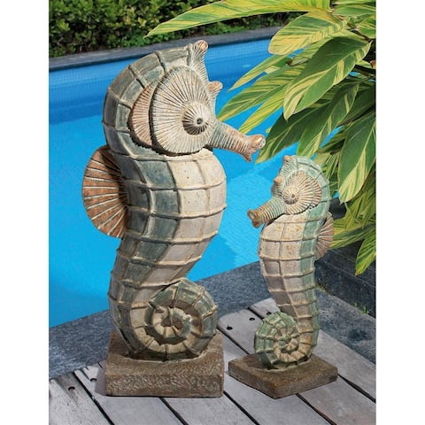 Design Toscano Sea Biscuit Seahorse Marine Fish Family Statue Collection: Set - Medium: 7.5 x 6 x 17 Large: 13.5 x 8.5 25.5