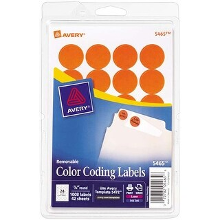 "Orange; .75"" Round - Avery Print/Write Self-Adhesive Removable Labels 1008/Pkg"