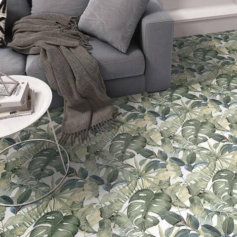 "SomerTile Imagine Botanical Tropic 19-3/8"" x 19-3/8"" Porcelain Floor and Wall Tile - Case (4 Tiles)"