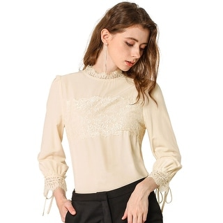 Women's 3/4 Sleeves Mock Neck Lace Panel Blouse