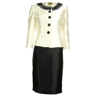Kasper Women's Business Skirt Suit - pearl/black - 10P