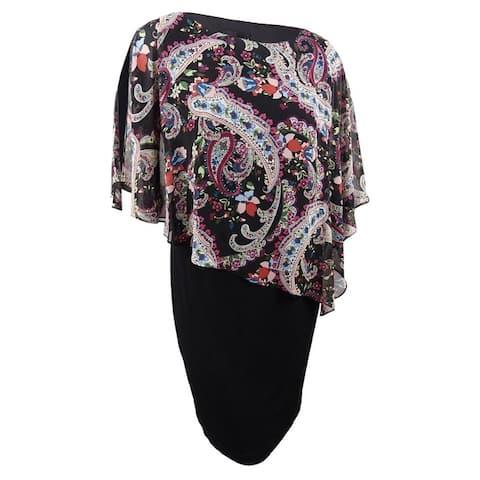 Connected Women's Plus Size Paisley Chiffon Cape Dress - Wine