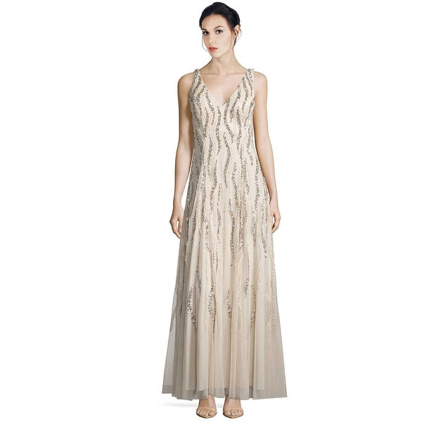 Aidan Mattox V-Neck Sequin Beaded Godet Evening Gown Dress - 2 ...