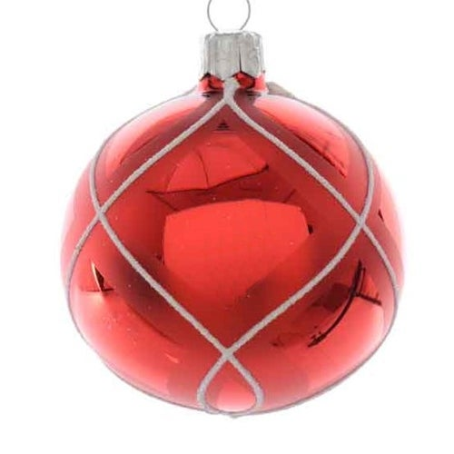 Red and White Checked Ball Ornament