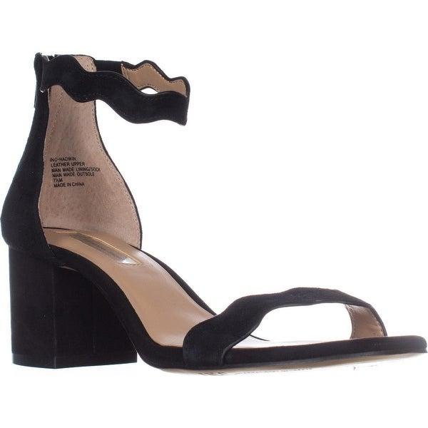 I35 Hadwin Scallop Block-Heel Sandals, Black