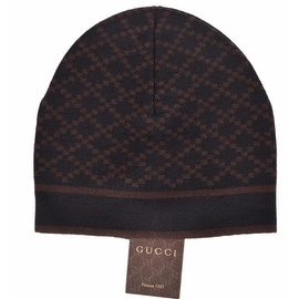 Gucci 281600 Men's 100% Wool Diamante Black & Brown Beanie Ski Hat