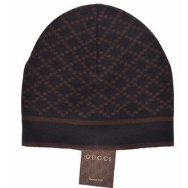 New Gucci 281600 Men's 100-percent Wool Diamante Black & Brown Beanie Ski Hat
